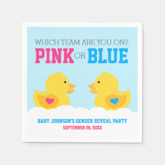 Rubber Ducky Pink or Blue Gender Reveal Party Standard Cocktail Napkin