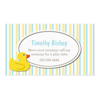 Rubber Ducky Play Date Card Double-Sided Standard Business Cards (Pack Of 100)