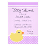 Rubber Ducky Purple Baby Shower Invitations