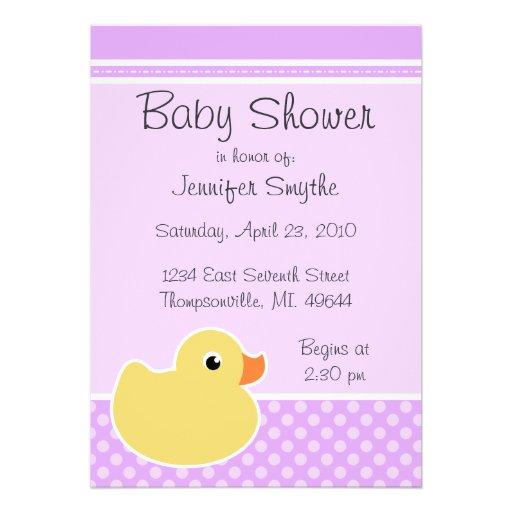 Rubber Ducky Purple Baby Shower Invitations