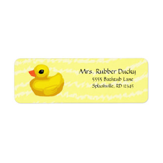Rubber Ducky Return Address Labels in yellow