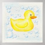 Rubber Ducky square bathroom art Poster