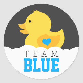 Rubber Ducky Team Blue Gender Reveal Party Classic Round Sticker
