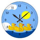 Rubber Ducky Triplets Wall Clocks