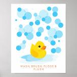 Rubber Ducky   Wash, Brush, Floss & Flush Print