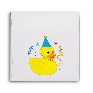 Rubber Ducky with Birthday Hat Envelope