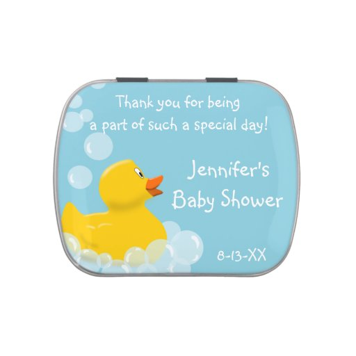 Rubber Ducky With Bubbles Baby Shower Favor Candy Tin
