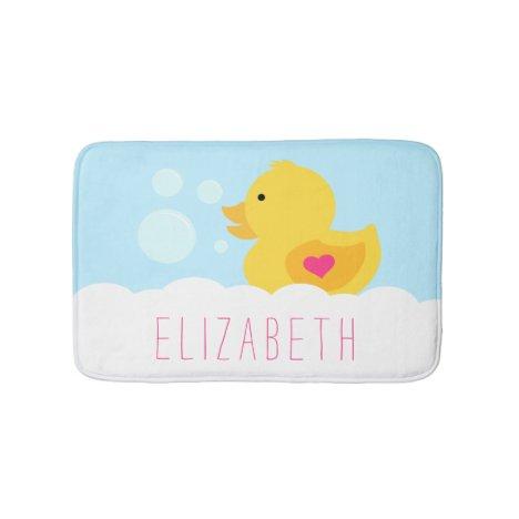 Rubber Ducky With Pink Heart Bath Mat