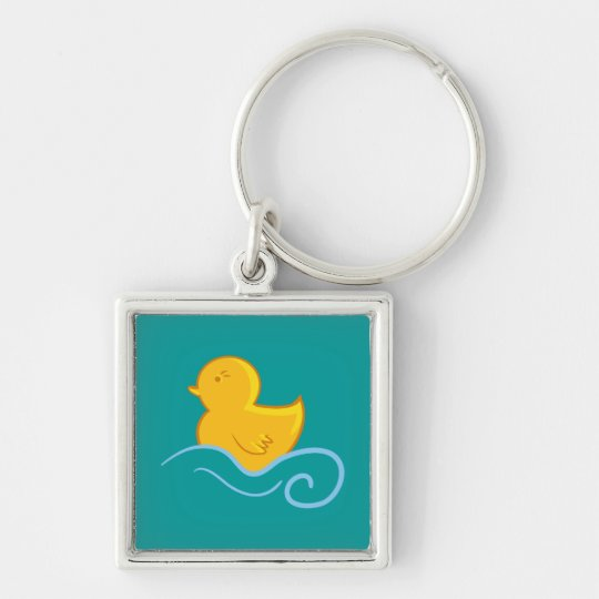 rubber ducky with waves keychain