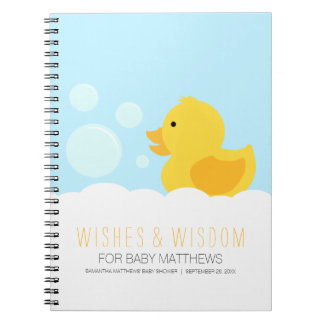 Rubber Ducky Yellow Neutral Baby Shower Guest Book Notebook