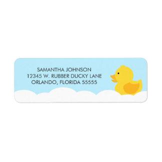 Rubber Ducky Yellow Neutral Baby Shower Return Address Label