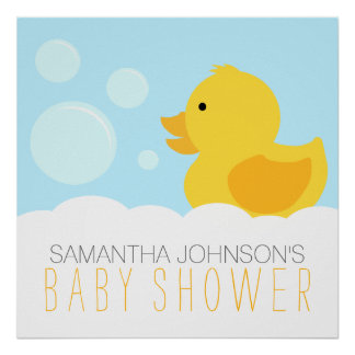 Rubber Ducky Yellow Neutral Baby Shower Print