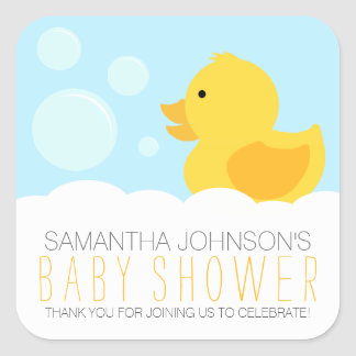 Rubber Ducky Yellow Neutral Baby Shower Square Sticker