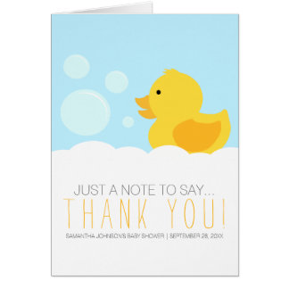 Rubber Ducky Yellow Neutral Baby Shower Thank You Stationery Note Card