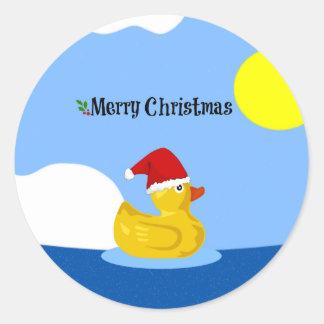 Rubber Ducky's Christmas Swim Classic Round Sticker