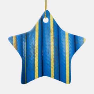 Rubber Hose Blue Double-Sided Star Ceramic Christmas Ornament