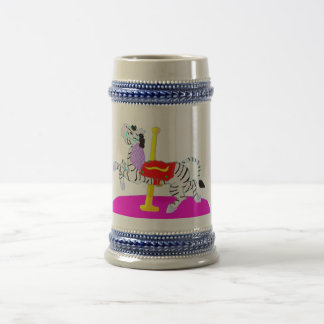 Rubber Stamp, Carousel Zebra, In Color Beer Stein