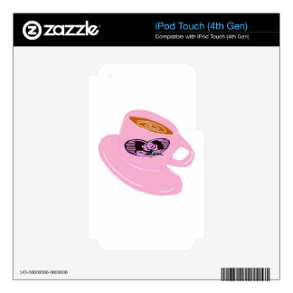 Rubber Stamp Coffee Cup Decals For iPod Touch 4G