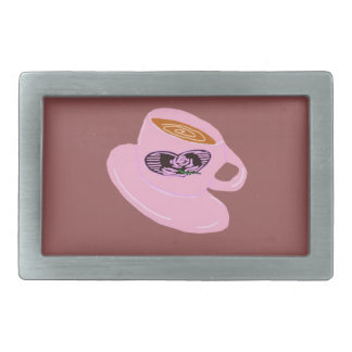 Rubber Stamp Coffee Cup Rectangular Belt Buckle