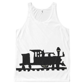 Rubber Stamp, Train Locomotive All-Over-Print Tank Top