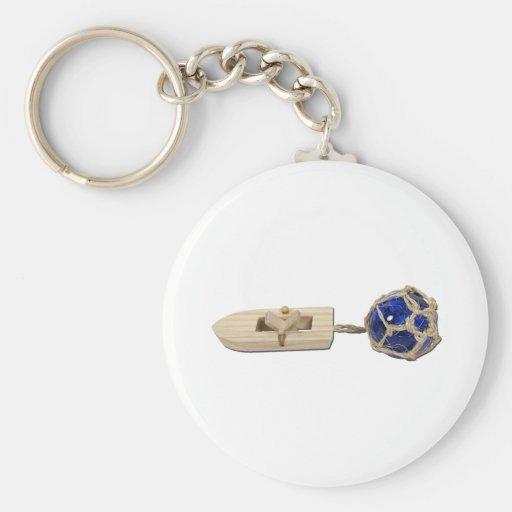 RubberBandBoatGlassFloat070911 Key Chain