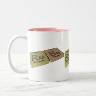 Rube as Ru Ruthenium and Be Beryllium Two-Tone Coffee Mug