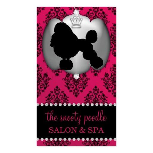 Rubelite Pink Jeweled Damask Dog Grooming/Spa Business Card
