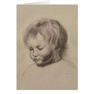 Rubens Style Portrait Drawing of Little Boy Card
