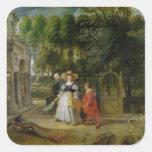 Rubens y Elena Fourment en el jardín Pegatina Cuadrada