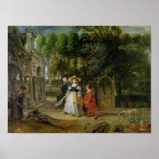 Rubens y Elena Fourment en el jardín Póster