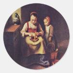 Rübenschälerin By Maes Nicolaes (Best Quality) Sticker