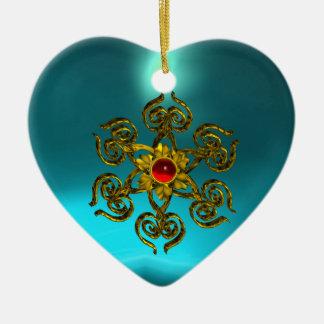 RUBÍ COLOR DE ROSA DE ORO, Aquamarine azul, rosa Adorno Navideño De Cerámica En Forma De Corazón