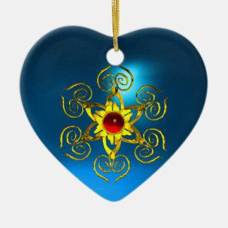 RUBÍ COLOR DE ROSA DE ORO, corazón azul del zafiro Adorno Navideño De Cerámica En Forma De Corazón