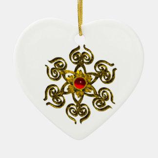 RUBÍ COLOR DE ROSA DE ORO, corazón blanco Adorno Navideño De Cerámica En Forma De Corazón