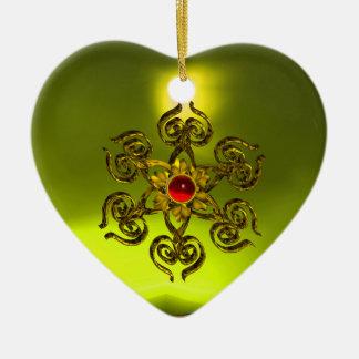 RUBÍ COLOR DE ROSA DE ORO, Topaz amarillo, rosa Adorno Navideño De Cerámica En Forma De Corazón