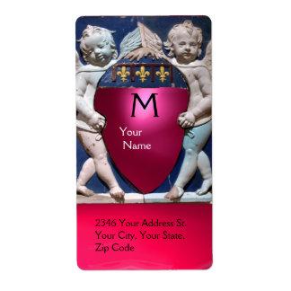 Rubí rosado rojo del PEQUEÑO MONOGRAMA de los ÁNGE Etiqueta De Envío