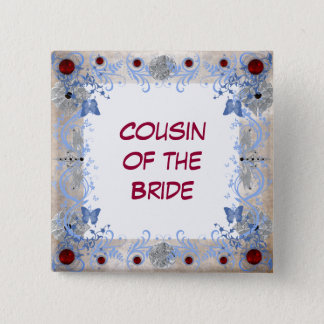 Rubies Art Deco Wedding Pinback Button