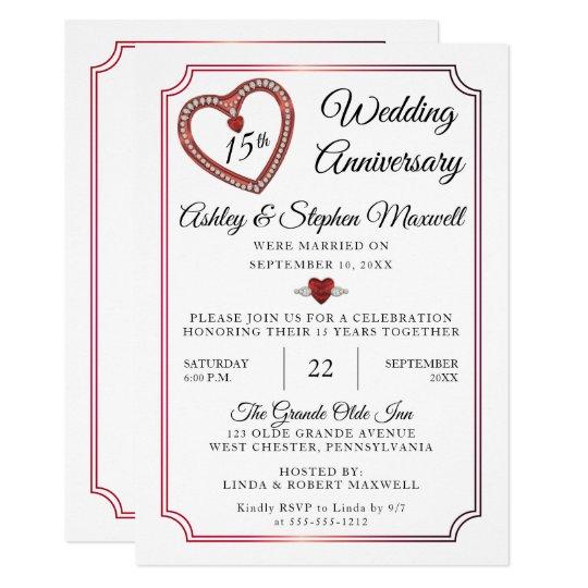 15th Wedding Anniversary.Rubies Diamonds 15th Wedding Anniversary Party Invitation