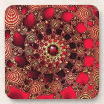 Rubies & Gold Cork Coaster