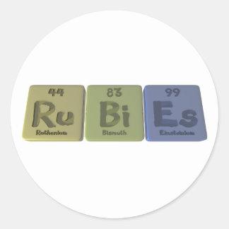 Rubies-Ru-Bi-Es-Ruthenium-Bismuth-Einsteinium.png Classic Round Sticker