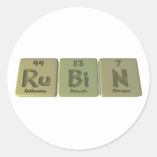 Rubin as Ruthenium Bismuth Nitrogen Classic Round Sticker