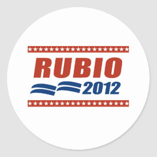 RUBIO 2012 SIGN CLASSIC ROUND STICKER