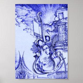 Rubio ambarino y azules claros póster