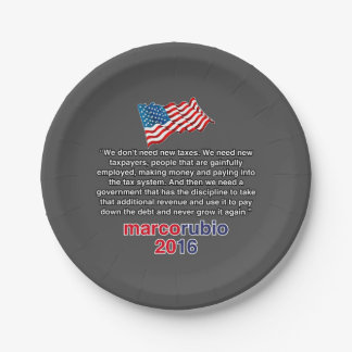 RUBIO NEW TAXES PAPER PLATE