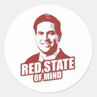 RUBIO RED STATE OF MIND -.png Round Sticker
