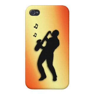 Rubor del naranja del jugador de saxofón iPhone 4 fundas