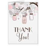 Ruborícese rosado y los tarros de albañil grises tarjetas