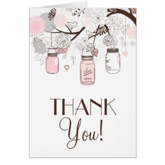 Ruborícese rosado y los tarros de albañil grises tarjeta de felicitación