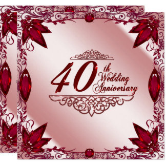Ruby 40th Wedding Anniversary 5 25x5 25 Invitation