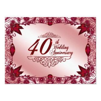 Ruby 40th Wedding Anniversary 5.5x7.5 Invitation